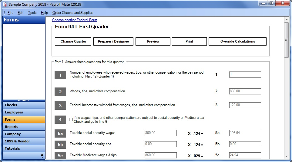 Payroll Mate® 941 Quarterly Form Screenshot
