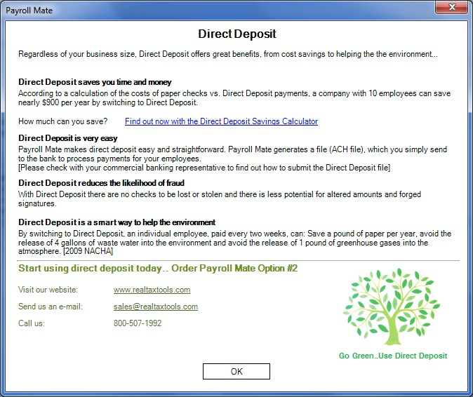 Payroll Mate® ACH Direct Deposit Screenshot