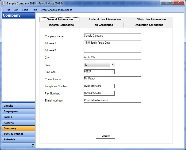 Payroll Mate® Company Setup Screenshot