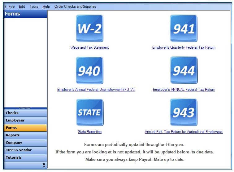 Payroll Mate® Tax Forms Window Screenshot